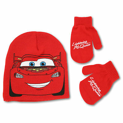 Disney Lightning McQueen Beanie Hat and Mitten Set, Toddler Boys, Age 2-5