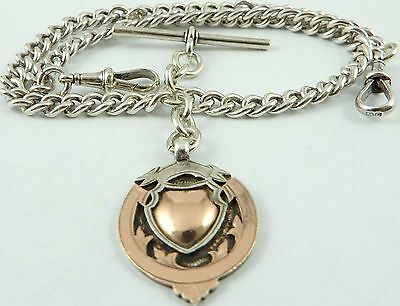 Antique silver double albert pocket watch guard chain with silver and gold fob