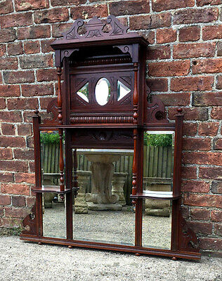 Beautiful Ornate Antique Late Victorian Mahogany Overmantle Mirror.