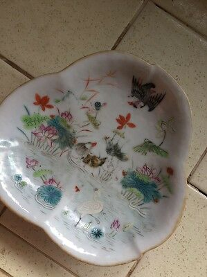 Rare  Chinese Porcelain Dish Water Ducks Birds Decor Ching Dynasty Reign Mark