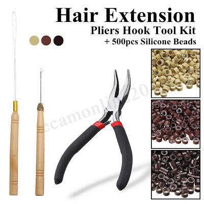 Hair Extension Pliers Hook Tool Kit For Micro Rings Loop + 500Pcs Silicone Beads