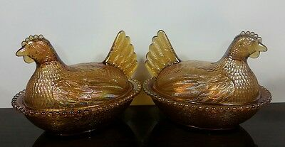 Indiana HEN CHICKEN ON NEST Marigold Gold Carnival Glass Candy Dish Beaded Rim