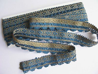 FABULOUS Antique Vintage Blue Silk Trim Doll Clothes Trim 5 Yds.+ x 1 In.