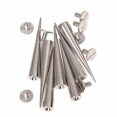10 Set Silver Screw Bullet Rivet Spike Studs Spots DIY Rock Punk M1Y5