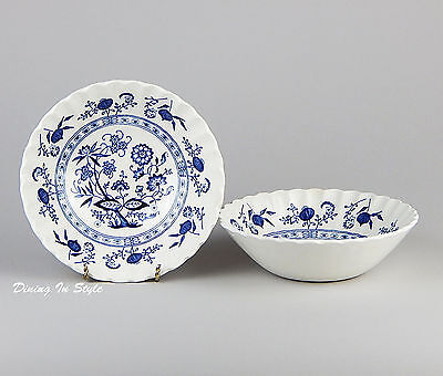 "Set of 2 (6-1/2"") Cereal Bowls, Excellent! Blue Nordic, J G Meakin, Classic"