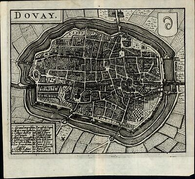 Dovay Douai France Nord 1652 Jansson old antique engraved map city plan