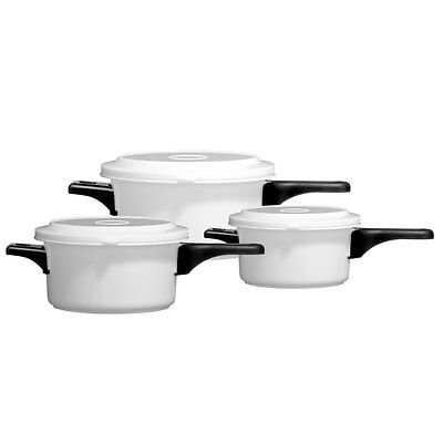 New Set Of 3 Microwaves White Pots Lid And Removable Hnadle Kitchen Pots
