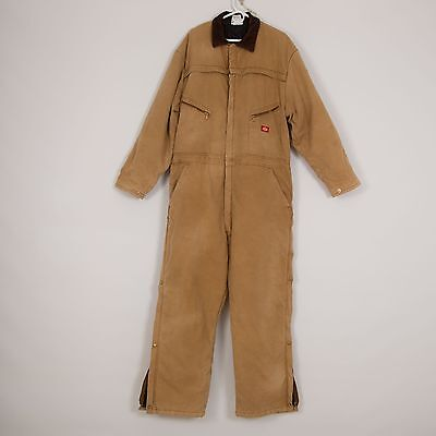 DICKIES Mens Heavy Cotton Insulated Workwear Coverall Size 2XL 50-52 Brown
