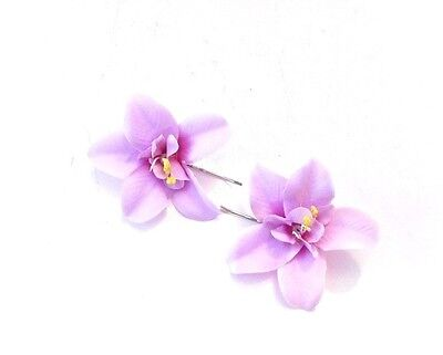 2 x Lilac Light Purple Orchid Flower Hair Grips Clips Bobby Pins Slides 3353