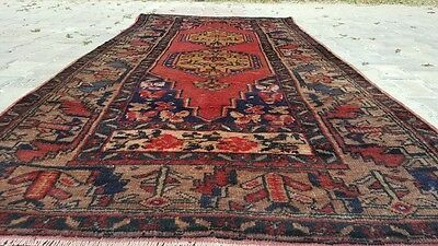 Antique Henna Dyes Cr1930-1939s Wool Pile 4x8ft Dowry Rug