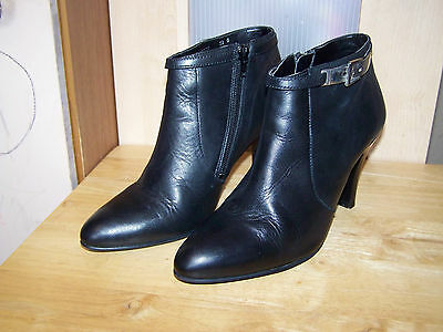 next black leather high heeled womens ankle boots uk 6 eu