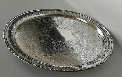 Vintage Large Silver Plated Round Gallery Drinks Tray Salver by Walker & Hall