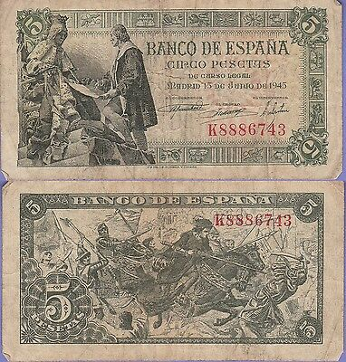 Spain 5 Pesetas Banknote 1945 Choice Very Good Condition Cat#129-A-6743