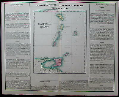Windward Islands St. Vincent Martinique St. Lucia 1822 Carey Lea antique map