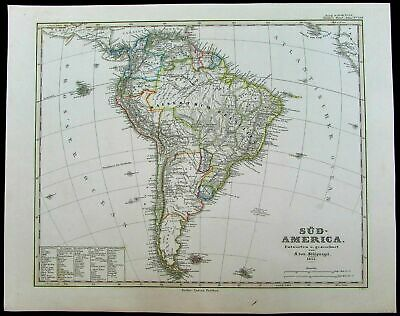 South America Sud America Brazil Chile New Grenada 1855 antique Stulpnagel map