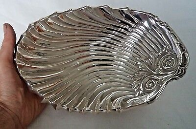 Superb 450 Gram Antique 1908 Solid / Sterling Silver Shell Ear Dish