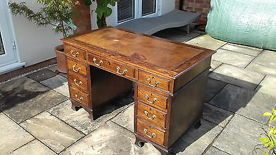 Antique Oak pedestal desk circa 1910 tan leather top 4 drawers per pedestal.