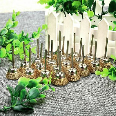 20pcs Dia 25mm Brass Wire Brushes Bowl Wheel 3mm Shank for Grinder Rotary Tools