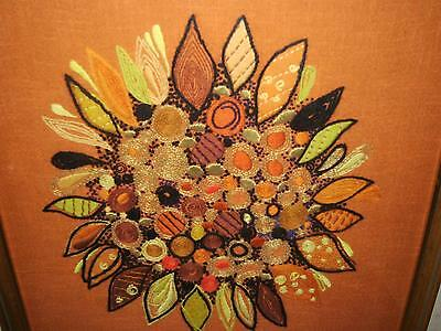 LARGE FRAMED retro abstract art WOOLWORK & GOLD DESIGN ON LINEN C1950/60'S?
