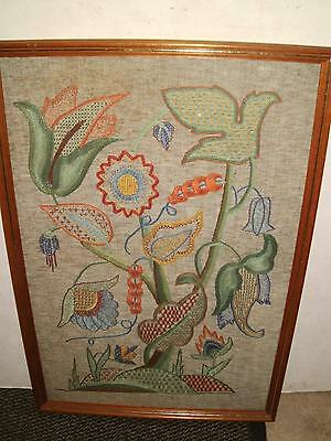 Large Framed Vintage Jacobean Style Abstract Floral Embroidery On Linen