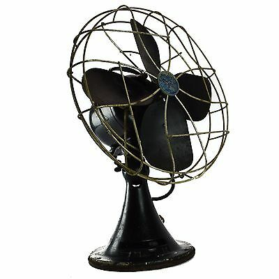 EMERSON 3 Speed Electric Oscillating Table Fan Black Metal Round Vintage