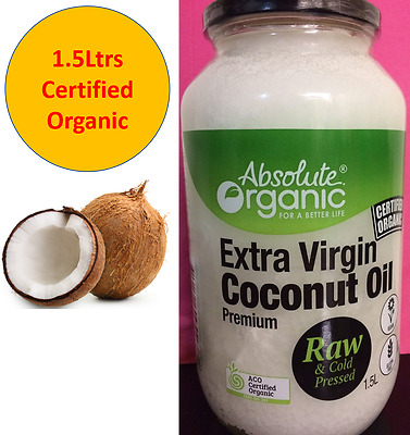 1.5Ltrs Extra Virgin Coconut Oil Organic Raw Cold Pressed ACO Certified Organic