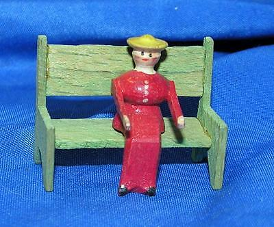 1920's Vtg Erzgebirge German Wood Miniature Woman W Bench, Xmas Putz Village