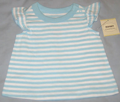 New OLD NAVY Size 3-6 Months Blue Striped Cap Sleeves Tops ~ Shirt