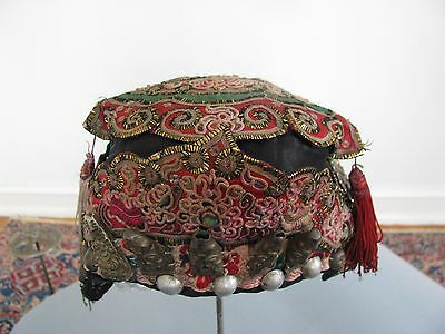 Chinese Hat Child Tribal Dong Festival 5 Silver Immortals Hand Embroidery Old