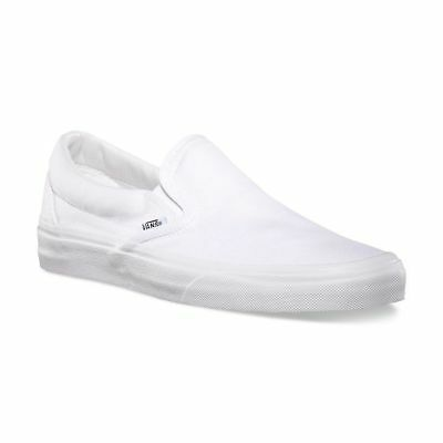 Vans Classic Slip On True White Skate Mens Womens Canvas Shoes Sneakers Sizes