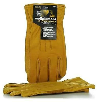 Wells Lamont Premium Cowhide Leather Work Gloves 3 Pair Pack - Size M/ XL