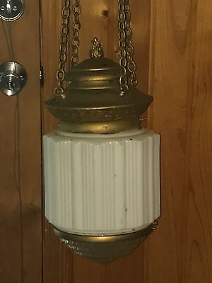 Antique 1910-20 Skyscraper Pendant Hanging Lamp Light Fixture Ornate Torch Chain