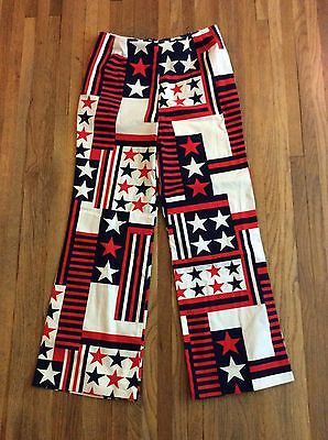 TRUE Vintage 70s Handmade Patriotic USA Red White Blue High Waist Pants 30in