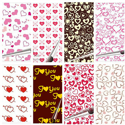 "10 pcs Heart Chocolate Transfer Sheets DIY Cake Decoration Paper 13"" x 8 1/4"""
