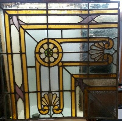 Antique Leaded Stained Glass Church Window Shells Flower Deatails *Damaged