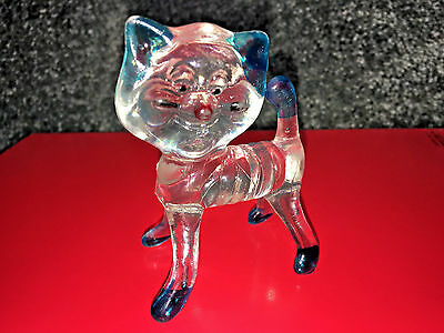 KITTY CAT FIGURINE Plastic VINTAGE COLLECTIBLE 1950's1960's HONG KONG Blue Clear