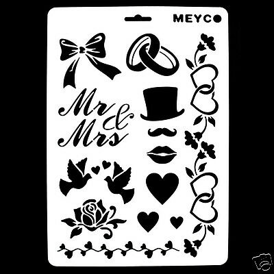 Mr & Mrs Wedding DIY Crafting Stencil Template Album Stamping Painting Mold New