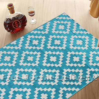 SIA GEOMETRIC TILES DESIGN BLUE MODERN FLOOR RUG RUNNER 80x300cm **FREE DELIVERY
