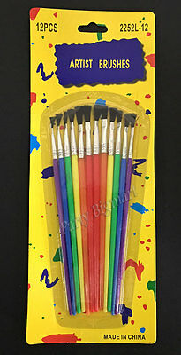 New Pack of 12pcs Assorted Artists Paint Brushes School Kids Children's Craft-AU