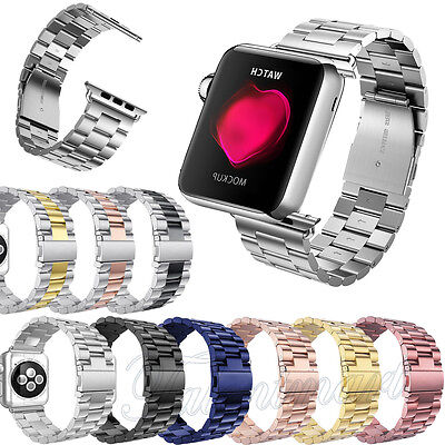 Stainless Steel Wrist Bracelet Clasp Strap For Apple Watch Band 38mm/42mm NEW