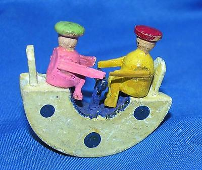 1920's Vtg Erzgebirge German Folk Art Miniature, People On Playground Rocker