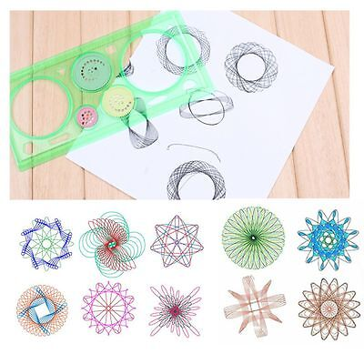 2Pcs Painting Multi-function Puzzle Spirograph Children Drawing Plastic Ruler