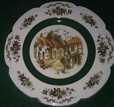 Set of 4 Service Plates Wood & Sons Ironstone ASCOT Green Gold Floral England