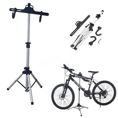 Aluminum Alloy Bike Bicycle Adjustable Mechanic Repair Tool Work Stand Rack Tray