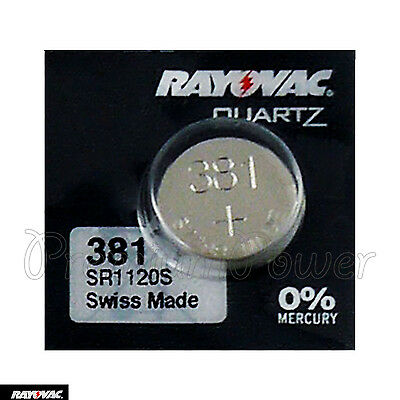 1 x Rayovac 381 battery Silver Oxide 1.55V SR1120SW SR55 V381 Watches Swiss
