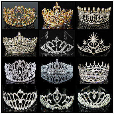 Princes Bridal Pageant Rhinestone Crystal Wedding Prom Crown Tiara Veil Headband