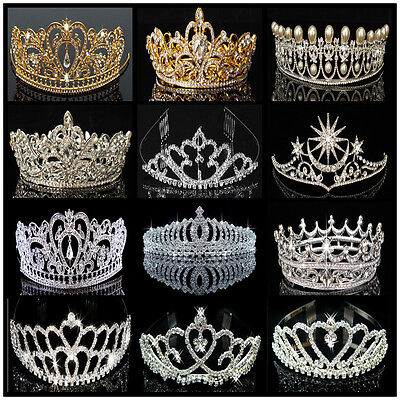Princess Bridal Austrian Rhinestone Crystal Wedding Crown Tiara Veil  Accessory