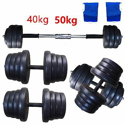 Barbell Dumbbell Set 40KG / 50KG Weight Discs Workout Homegym Fitness New