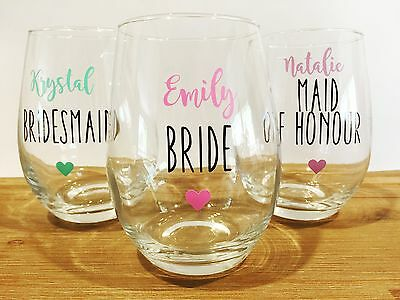 DIY Bridal Party Wine Glass Sticker Decal (1 Decal)
