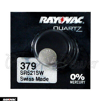 1 x Rayovac 379 battery Silver Oxide 1.55V SR63 SR521SW V379 Watches Swiss